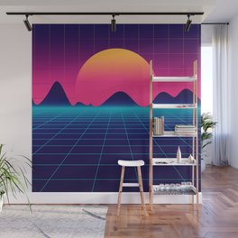 Throwback Sunset Synthwave Wall Mural