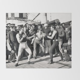 Boxing on a Naval Ship, 1899 Throw Blanket