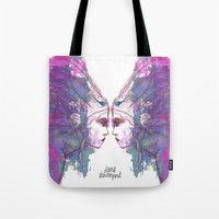 jane davenport Tote Bags featuring Feathers in her Hair by Jane Davenport by Jane Davenport
