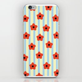 Poppies & Stripes iPhone Skin