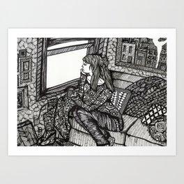 contemplating girl Art Print