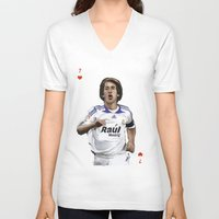 madrid V-neck T-shirts featuring Raul Madrid by Dano77