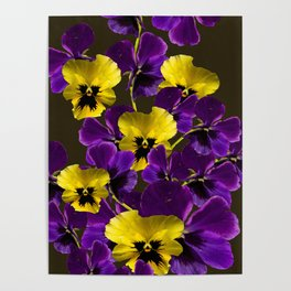 Purple And Yellow Flowers On A Dark Background #decor #buyart #society6 Poster