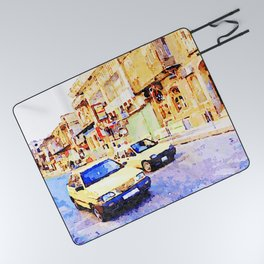 Aleppo: Taxi through the streets of Aleppo Picnic Blanket