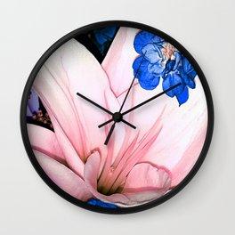 Pink & Blue flowers Wall Clock