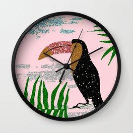 Tropical glitter toucan Wall Clock