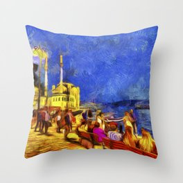 Istanbul At Night Van Gogh Throw Pillow