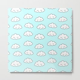 Clouds dreaming in blue with closed eyes and eyelashes Metal Print