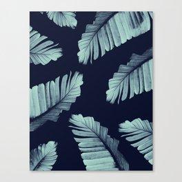 Navy Blue Banana Leaves Dream #2 #tropical #decor #art #society6 Canvas Print