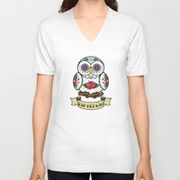 hedwig V-neck T-shirts featuring Hedwig Sugar Skull by Artpunk101