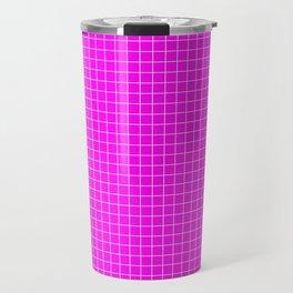 Pink Grid White LIne Travel Mug