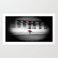 surfboard Art Prints featuring Red Surfboard by Derek Fleener