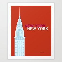 New York City, New York - Skyline Illustration by Loose Petals Art Print