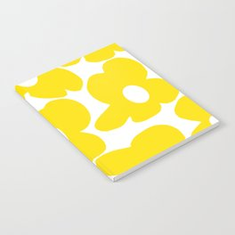 Large Yellow Retro Flowers on White Background #decor #society6 #buyart Notebook