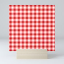 Small Valentine Red Heart Rich Red and White Buffalo Check Plaid Mini Art Print