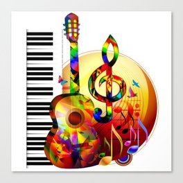 Colorful  music instruments painting, guitar, treble clef, piano, musical notes, flying birds Canvas Print