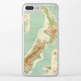 Vintage Map of New Zealand (1922) Clear iPhone Case