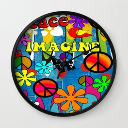 Retro Peace Symbols and Retro Flowers Wall Clock