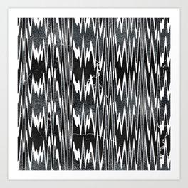 Monochrome Marble Chevron Waves Art Print