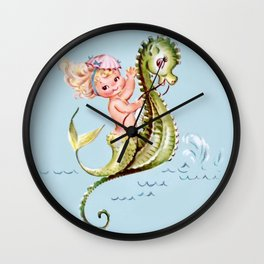 Mermaid on Seahorse Wall Clock