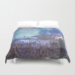 The Northern Harrier and The Moon Duvet Cover
