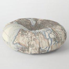 Vintage Map of Seattle Washington (1908) Floor Pillow