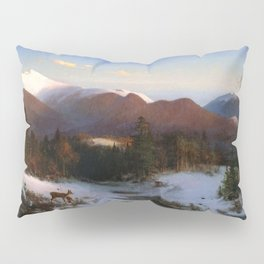 Mount Lafayette In Winter 1870 By Thomas Hill | Reproduction Pillow Sham