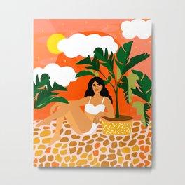 Life With Banana Trees #illustration #painting Metal Print