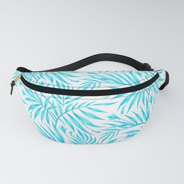 Waikiki Palm - White / Aqua Fanny Pack
