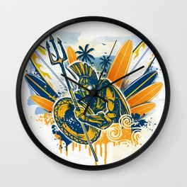 poseidon surfer aggression Wall Clock