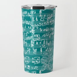 Hand Written Sheet Music // Teal Travel Mug