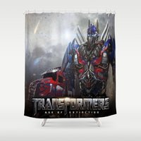 transformers Shower Curtains featuring transformers  , transformers  games, transformers  blanket, transformers  duvet cover by ira gora