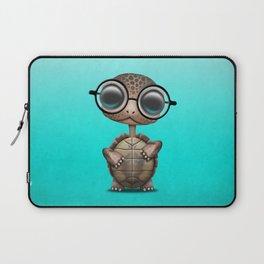 Cute Nerdy Turtle Wearing Glasses Laptop Sleeve