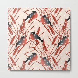 Winter pattern with bullfinches. Metal Print