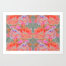 Peonies Pattern with Waves - Red, Pink, Purple, Green Art Print