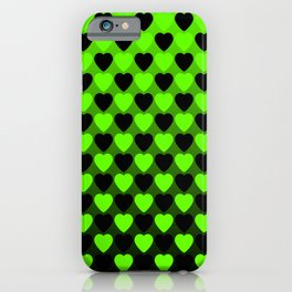 Zigzag of repetitive green hearts staggered on a black background. iPhone Case