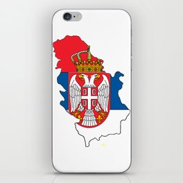 Serbia Map with Serbian Flag iPhone Skin
