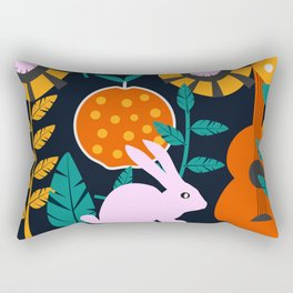Music and a little rabbit Rectangular Pillow