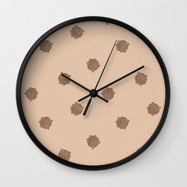 Round Bunny Pattern Brown Cream Wall Clock