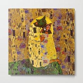 Kiss Klimt Cats Metal Print