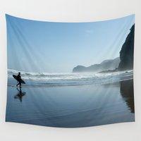 new zealand Wall Tapestries featuring New Zealand, Piha Beach by suzyoconnor