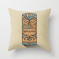 tiki Throw Pillows featuring Tiki by Brad Hansen