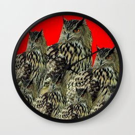 FAMILY OF OWLS IN TREE RED ART DESIGN ART Wall Clock