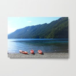 Lake Crescent With Beached Canoes Metal Print