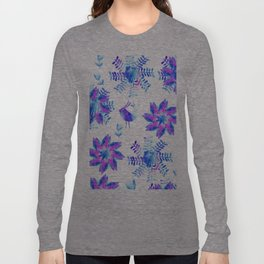 Watercolor flower and birds  Long Sleeve T-shirt