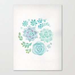 Watercolor Succulent Garden 3 Canvas Print