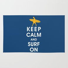Keep Calm and Surf On (Surfer Boy) Rug