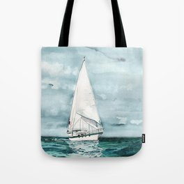 Sailboat painting on turquoise waters stormy skies Tote Bag