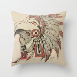 Skull of an Indian Chief Throw Pillow