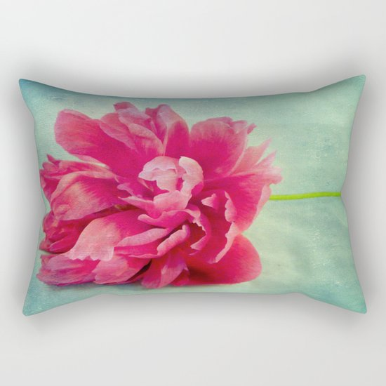 Peony on Blue Rectangular Pillow